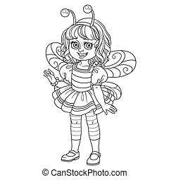 Cute girl in bee costume outlined for coloring page