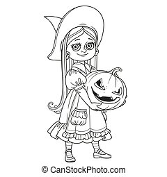 Cute girl in witch costume holding a large pumpkin carved with a grin outlined coloring page
