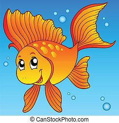 Cute goldfish in water