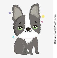 cute gray dog domestic cartoon animal, pets