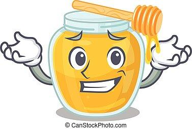 cute Grinning honey mascot in cartoon style