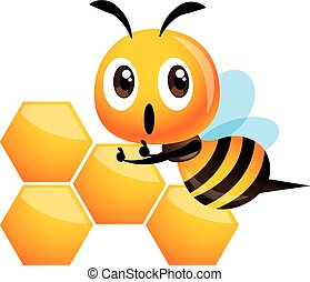 Cute happy bee thumb up with the sweet honeycomb recipe - vector