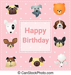 Cute happy birthday card with funny dogs, vector, illustration
