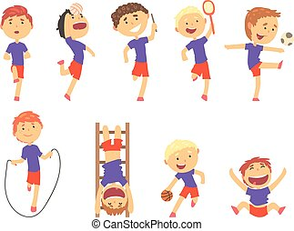 Cute happy boys doing sports set. Activity kids playing colorful cartoon Illustrations