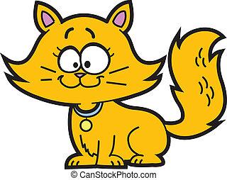 Cute Happy Orange Cartoon Kitten