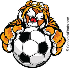 Cute Happy Tiger Mascot with Soccer