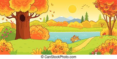 Cute hare running through the autumn forest. Vector illustration with an animal in a cartoon style.