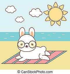 Cute hare sunbathing. Kawaii rabbit on the beach. White bunny lying on seashore. Summer holidays theme