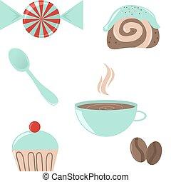 Cute icon set of coffee break