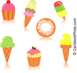 Cute icon set of sweet things