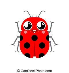 Cute kawaii ladybug isolated. funny bug cartoon style. kids character. Childrens style.