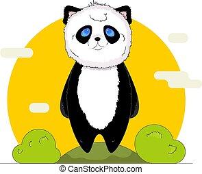 Cute kawaii panda with nature background in cartoon style.