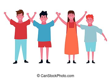 Cute kids smiling cartoon isolated