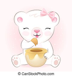 Cute little bear and honey jar, hand drawn cartoon illustration