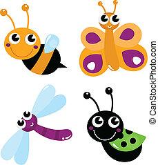 Cute little cartoon bugs isolated on white