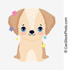 cute little dog domestic cartoon animal, pets