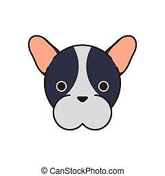 cute little dog french bulldog head fill style icon