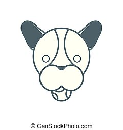 cute little dog french bulldog head with ball line style icon