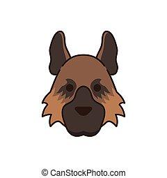 cute little dog German shepherd head fill style icon