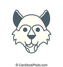 cute little dog German shepherd head with ball line style
