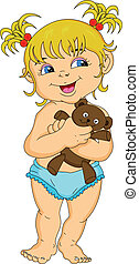 cute little girl holding a doll