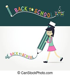 cute little Girl holding pencil writing back to school