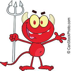 Red Devil Holding Up A Pitchfork