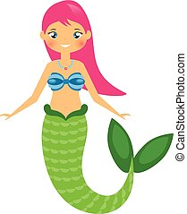 Cute Mermaid character in Cartoon Style. vector illustration