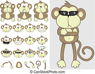 monkey faces and body parts set, include three monkeys saying, See No Evil, Speak No Evil, Hear No Evil, individual objects very easy to edit