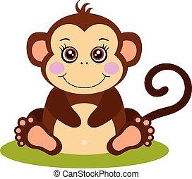 Cute monkey sitting isolated on white