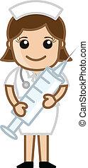 Nurse Having Syringe - Medical Cartoon Vector Character