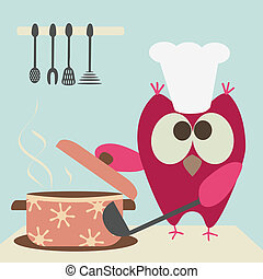 cute owl with a bawl cooking in the kitchen