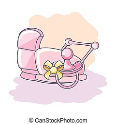 cute pacifier with baby cart