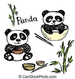 Cute panda eating ,bamboo, chopsticks, hand drawing