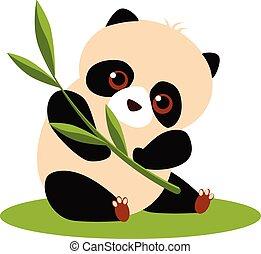 Cute Panda Eating Bamboo. Vector illustration.