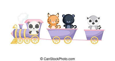 Cute panda, lynx, panther and lemur ride on train. Graphic element for childrens book, album, scrapbook, postcard or mobile game. theme.