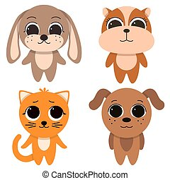 Cute Pets cat, dog, hamster and rabbit , on a white background.