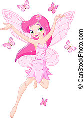 Illustration of a cute pink spring fairy in flight