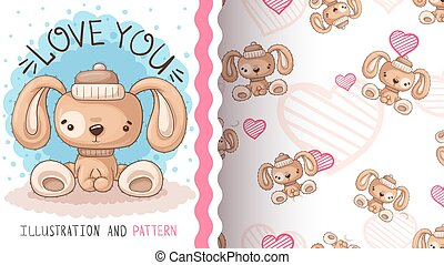 Cute pretty dog -seamless pattern.