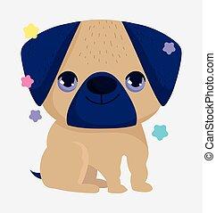 cute pug dog domestic cartoon animal, pets