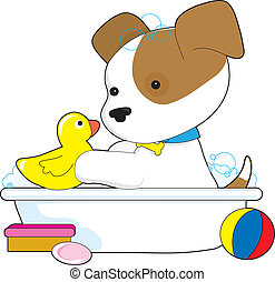 Cute Puppy Bath