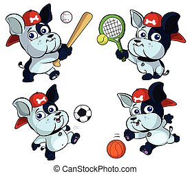cute puppy bulldog sports set