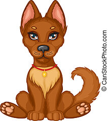 Cute brown puppy sits and wags his tail