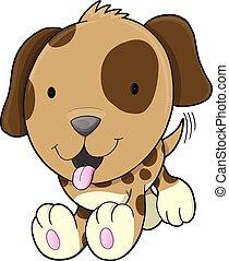 Cute Puppy Dog Vector Illustration