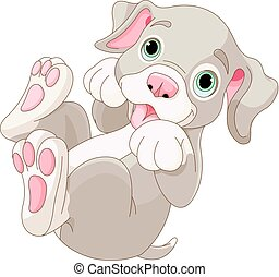 Illustration of cartoon puppy are playing