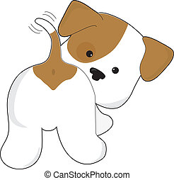 A cute brown and white puppy with a view from behind, as the puppy looks back towards the viewer.