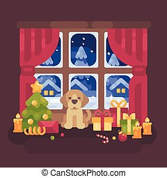 Cute puppy sitting at the window with a snowy winter landscape. Christmas flat illustration