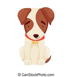 Cute puppy sitting. Vector illustration on white background.