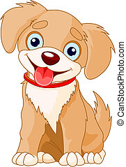 Vector illustration of a cute puppy wearing a red collar