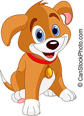 Vector illustration of a cute puppy, wearing a red collar with a dog tag.